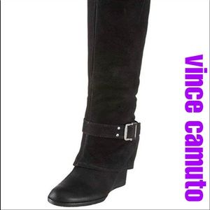 Vince Camuto Black Alician Wedge Knee High Boots